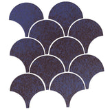 "4"" Conche or Fish Scale Tiles - Persian Blue"