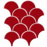 "4"" Conche or Fish Scale Tiles Cherry Red"