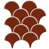 "4"" Conche or Fish Scale Tiles Mahogany"