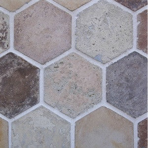 "Arabesque Creme Fraiche 8"" Hexagon Cement Tile"