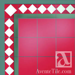 "Traditional Harlequin Border Cement Tile 8"" x 8"" Cement Tile"
