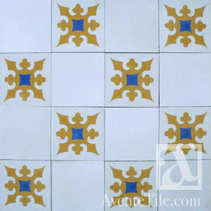 "Traditional Ponce Cement Tile 8"" x 8"" Cement Tile"