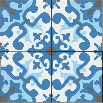 "Traditional Vallejo 8"" x 8"" Cement Tile"