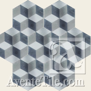 "Geometric Cube A 8"" Hexagon Cement Tile"