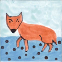 Whimsical Animal Fox Tile