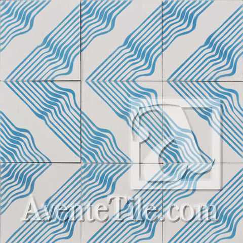 "Artist Series Tania Marmolejo Wave 3B 10"" x 10"" Encaustic Cement Tile"