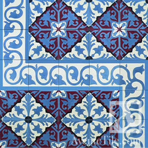 "Traditional Alcala Cement Tile 8"" x 8"" Cement Tile"