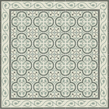 "Mission Roseton Encaustic Cement Tile 8""x8"" Rug in Charcoal and Sage with Tulip Border"