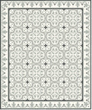 Roseton Cement Tile Rug with Queen Border in Clermont Colorway (Sage, Black, White)