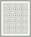 Roseton Cement Tile Rug with Franjas III Border in Clermont Colorway (Sage, Black, White)