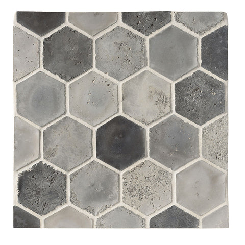 "Arabesque 6"" x 6"" Hexagon Portland Blend Vintage Rustic Cement Tile"
