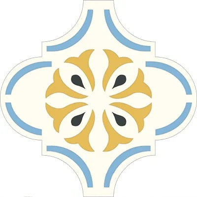 "Avente Mission Arabesque Malaga Floral 01 Pattern 10""x10"" Cement Tile"
