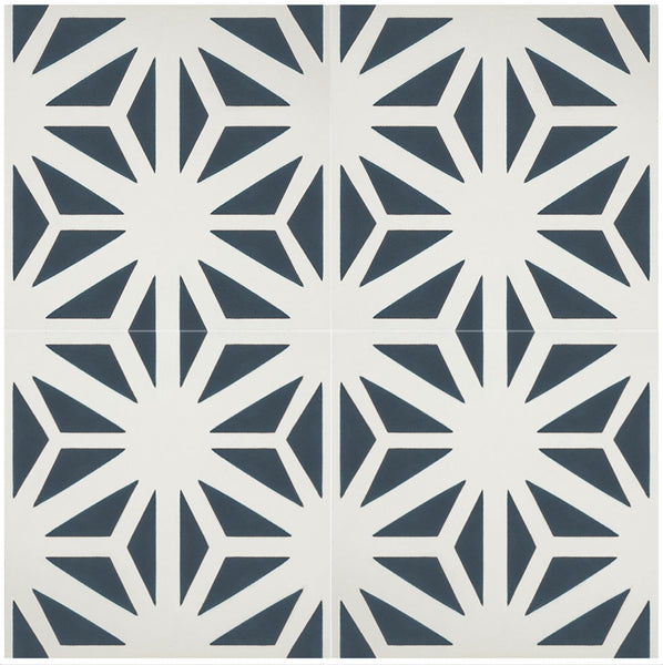 "Classic Tunis B 8"" x 8"" Cement Tile Quarter Design"