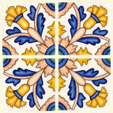 "Barcelona Cande Laria Quarter 6"" x 6"" Hand Painted Ceramic Tile"