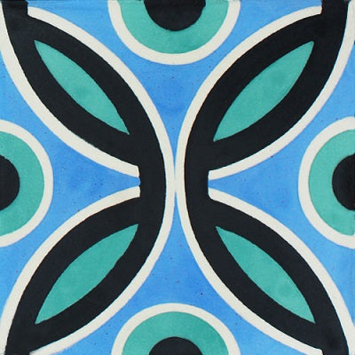 "Bahamas Cool Blue Encaustic Cement Tile 12""x12"" (one tile)"