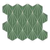 "Mission Bakery Hexagonal Encaustic Cement Tile Grouping 8"" x 8"" in Dark Green and White"