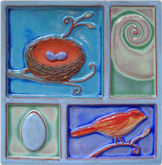 Bird and Nest Handpainted Relief Tile