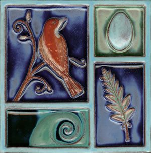 "Birds & Nests Bird Over Wave 8"" x 8"" Hand Painted Ceramic Tile"