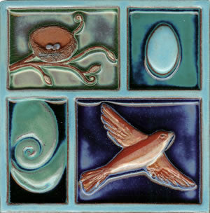 "Birds & Nests Bird Under Egg 8"" x 8"" Hand Painted Ceramic Tile"