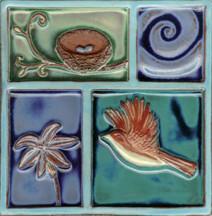 "Birds & Nests Bird Under Wave 8"" x 8"" Hand Painted Ceramic Tile"