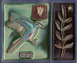 "Birds & Nests Bird with Plant 8"" x 10"" Hand Painted Ceramic Tile"