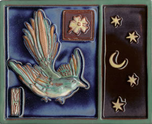 "Birds & Nests Bird with Stars 8"" x 10"" Hand Painted Ceramic Tile"