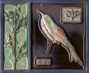 "Birds & Nests Bird with Tree 8"" x 10"" Hand Painted Ceramic Tile"