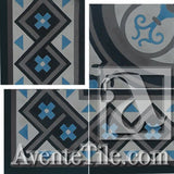 "Cuban Heritage Design 250 3B Border 8"" x 8"" Cement Tile"