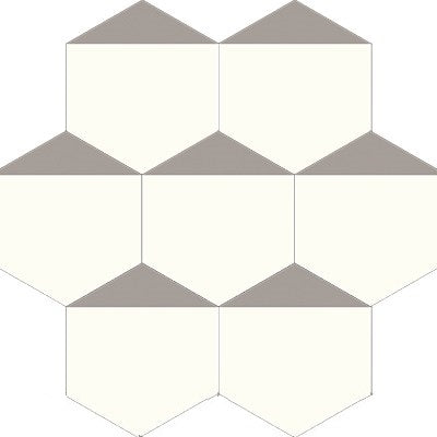 "Mission Hexagonal Clipped Corner Encaustic Cement Tile 8""x8"" Oxford Gray and White Pointing Layout"