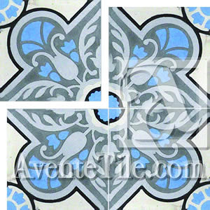 Cuban Heritage Design 110 2B Medalian Encaustic Cement Tile