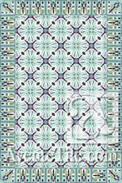 Cuban Heritage Design 130 1B Encaustic Cement Tile Rug
