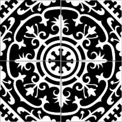 "Cuban Heritage Design 140 8""x8"" Quarter Design in Black & White"
