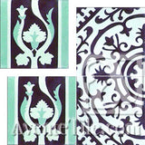 "Cuban Heritage Design 140 2B Border 8""x8"" Encaustic Cement Tile"