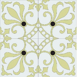 "Cuban Heritage Design 230 Field 8"" x 8"" Cement Tile - Custom Garden Colorway (Complete Quarter Design)"