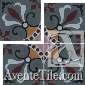 "Cuban Heritage Design 230 1A Cross 8""x8"" Encaustic Cement Tile"