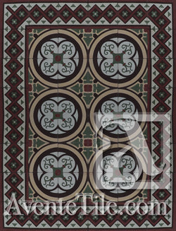 Cuban Heritage Design 250 1B Encaustic Cement Tile rug