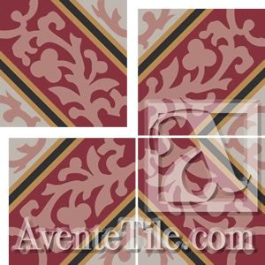 Cuban Heritage Design CH260-1A Field A - Encaustic Cement Tile