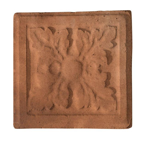 "Catalan Rustic Relief Deco Tile  4""x4"" - Cotto Dark"