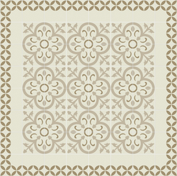 Mission Circles Border with Orleans Field - Cement Tile Rug