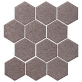 "Clay Arabesque 4"" Hexagon Glazed Ceramic Tile - Ash"