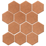 "Clay Arabesque 4"" Hexagon Glazed Ceramic Tile - Beechnut"