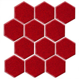 "Clay Arabesque 4"" Hexagon Glazed Ceramic Tile - Cherry Red"