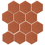 "Clay Arabesque 4"" Hexagon Glazed Ceramic Tile - Chocolate"