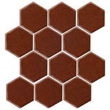 "Clay Arabesque 4"" Hexagon Glazed Ceramic Tile - Cinnamon"
