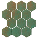 "Clay Arabesque 4"" Hexagon Glazed Ceramic Tile - Copper"