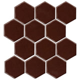 "Clay Arabesque 4"" Hexagon Glazed Ceramic Tile - Dark Roast"