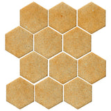 "Clay Arabesque 4"" Hexagon Glazed Ceramic Tile - Dijon Mustard Matte"