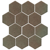 "Clay Arabesque 4"" Hexagon Glazed Ceramic Tile - Elder Green"