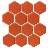 "Clay Arabesque 4"" Hexagon Glazed Ceramic Tile - Hazard Orange"