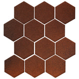 "Clay Arabesque 4"" Hexagon Glazed Ceramic Tile - Leather"
